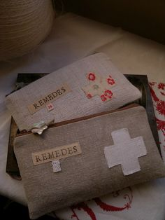 """Remedies""  Zipper Pouches."