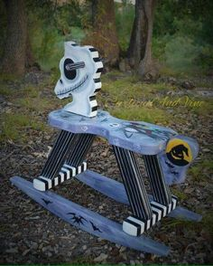 Nightmare Before Christmas Inspired-Baby-Nursery-Rocking Horse - Art - Hand Painted - Jack Skellington - Sally Skellington-Baby-Boy-Girl Goth Baby, Jack Skellington, Baby Boys, Christmas Baby Shower, Oogie Boogie, Jack And Sally, Arte Popular, Baby Halloween, Halloween Ideas