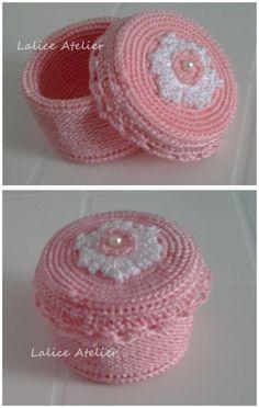 Caixinha porta Joia em crochê #crochê #crochet #portajoia #caixacrochê