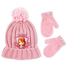Disney Toddler Girls Princess Sofia The First Soft Chunky Acrylic Knit Winter Cuffed Beanie Hat with Knit Pom and Matching Mitten Set Pink One Size -- Read more reviews of the product by visiting the link on the image.