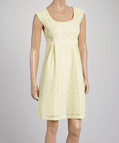 Look what I found on #zulily! Rabbit Rabbit Rabbit Designs Yellow Eyelet Cap-Sleeve Dress by Rabbit Rabbit Rabbit Designs #zulilyfinds