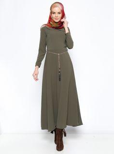 Chain Belt Dress - Khaki - Mileny