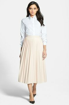 Pink Tartan Shirt & Faux Leather Skirt  available at #Nordstrom