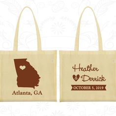 Georgia Wedding, Georgia Tote Bags, Wedding Favor Canvas Bags, Destination Wedding Bags, State Tote Bags, Personalized Tote (109)