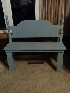 Country blue bench made from an old twin sized headboard.