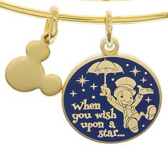 Your WDW Store - Disney Alex and Ani Charm Bracelet - Wish Upon A Star - Gold