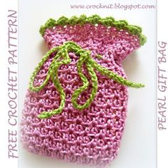 free crochet patterns, how to crochet, gift bags, drawstring,