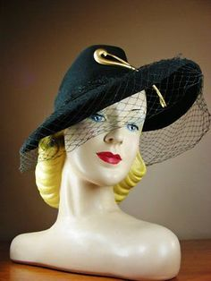 668a21b218f Vintage Black Felt Wide Brim Tilt Fedora New York Creation Veil