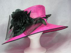 Pink and Black Kentucky Derby Hat Easter Hat Church Hat by HatTrix, $275.00