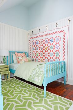 Waterside cottage on Lake Erie designed by Natalie Hodgins and Kate Stuart of Sarah Richardson Design. Photo by Stacey Brandford for Country Living (via House of Turquoise). Love this shabby chic style Jenny Lind Bed, Ceiling Paint Colors, Haus Am See, House Of Turquoise, Turquoise Bed, Big Girl Rooms, Cottage Homes, Coastal Cottage, Lake Cottage