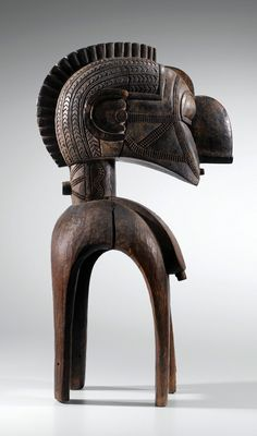 Africa | 'Nimba' shoulder mask from the Baba people of Guinea | ca. prior to 1957 | Wood, originally with raffia attachment