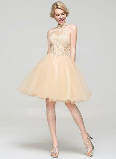 [US$ 117.99] A-Line/Princess High Neck Knee-Length Tulle Cocktail Dress (016091224)