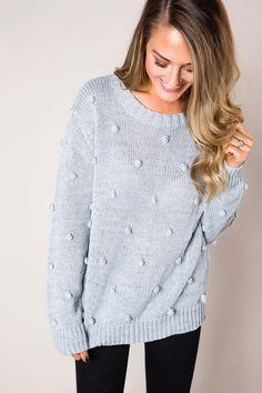48ea7c9511 Grey Pom Sweater - Dottie Couture Boutique Dottie Couture Boutique