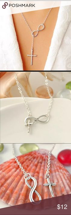 ✨NEW✨Infinity & Cross Sterling Silver Necklace Delicate Infinity & Cross Sterling Silver Plate Necklace. Beautiful and charming piece for that special someone. Comes in storage bag for safe keeping.   *Item Details*  Condition :  100% Brand New Material: Alloy Quantity: 1Pcs Length: Approx.51 cm  Pendant Size:   Approx. 3*2cm Conversion1 inch = 25.4mm or 1mm = 0.0393 inch Jewelry Necklaces