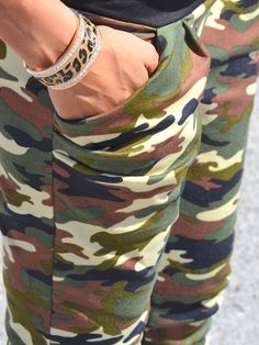 Leopard and rhinestone cuff mixed with camo joggers