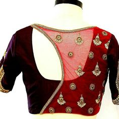 Check out the latest saree blouse designs for back and front for festive seasons like Durga puja, karwa chauth and Diwali. Also, see the latest choli designs and blouses for Navratri dandiya and Garba dance. Netted Blouse Designs, Blouse Neck Designs, Latest Maggam Work Blouses, Stylish Blouse Design, Choli Designs, Designer Blouse Patterns, Blouse Models, Designer Wear, Designer Dresses