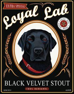 Black Lab Art - Loyal Lab - Black Velvet Stout - 8x10 art print by Krista Brooks. $20.00, via Etsy.