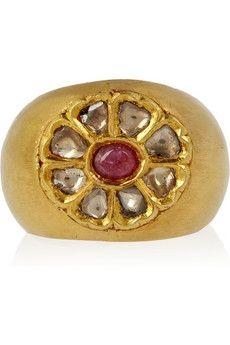 Artisan|14-karat gold ruby and diamond ring|NET-A-PORTER.COM - StyleSays