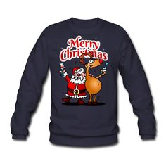 #Christmas #Sweater #Santa #Reindeer Merry Christmas - Santa Claus and his reindeer Men's Sweatshirt #Spreadshirt #Cardvibes #Tekenaartje #SOLD