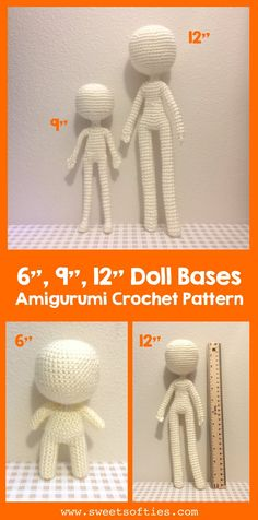 The doll slender doll and 12 slender doll bases are versatile amigurumi crochet human body patterns for you to customize into your favorite characters or designs! There is minimal sewing and the dolls can be posable with wire insertion. Mini Amigurumi, Doll Amigurumi Free Pattern, Crochet Dolls Free Patterns, Amigurumi Doll, Bear Patterns, Doll Sewing Patterns, Crochet Doll Dress, Crochet Doll Clothes, Crochet Toys
