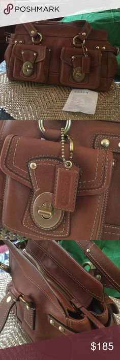 RARE LIKE NEW VINTAGE COACH SATCHEL Where can you find this timeless classy & elegance bag ?  All top quality leather,  you can see the like new condition from pics, non smoking even has that Coach card in it.  Has no shoulder strap but easy to find one. Handbag hall of fame ! Coach Bags