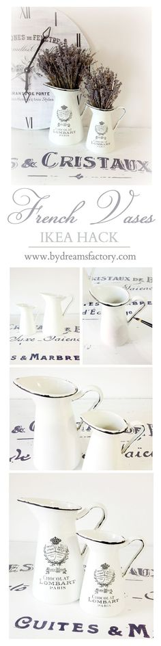 DIY French Vases - Turn ordinary vases from Ikea into French beauties in only 2 quick and easy steps using with black acrylic paint and French decals Shabby Chic Furniture, Shabby Chic Decor, Rustic Decor, French Decor, French Country Decorating, French Farmhouse Decor, Thinking Day, Shabby Chic Kitchen, Hacks Diy