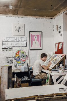 Adelaide artist Lucas Croall at Tooth and Nail Studios. As seen in the Adelaide* magazine's Youth Issue, June 2013. #Adelaide #Artist #creative #Art #ArtStudio
