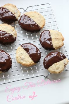Recipe for Chocolate dipped cookies. Follow me on Instagram @passionforbaking #cookies #chocolate #dippedcookies #baking