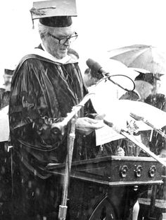 Jimmy Stewart accepting the Woodrow Wilson Award from Princeton in the pouring rain, 1990