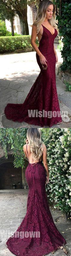 Sexy Mermaid Lace Open Back Online Cheap Long Prom Dresses, WG1053 #promdress #longpromdress
