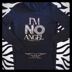 """*SUPERMODEL ESSENTIALS* No ANGEL LEGGINGS & JACKET VICTORIA' SECRET ~. Supermodel Essentials Limited Edition Blingy Hoodie and Yoga Leggings.  Black with silver sequin Bling """"IM NO ANGEL"""" on back angel wings on front pocket and back fold of """"tramp stamp""""  ;) ;). Area  and Angel Wing  zip.  Pre owned with some fading.  No other issues.  ALL bling intact.  Top is XS Pants are S.  MEASUREMENTS: chest, flat zipped and unstretched is 18""""  waist of pants, also flat 16"""" Inseam 30"""" pants are boot…"""