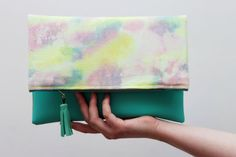 BRIGHTS/ Leather & Handpainted canvas fold over by DDSLLGirlsStore, $39.00