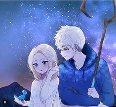 Frozen Art, Elsa Frozen, Disney Frozen, Jack Frost Anime, Elsa Anime, Jack Frost And Elsa, Cute Anime Coupes, Disney Princess Pictures, Sarada Uchiha