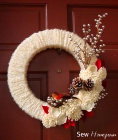 Sew Homegrown: {DIY} Woodland Winter Wreath------- I like the arrangement of the Flowers and pine cones.
