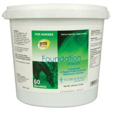 Vetri-Science Laboratories Foundation Supplement for Pets, 60-Serving by Vetri-Science Laboratories. $22.98. Contains amino acids essential for protein synthesis necessary for hoof conditioning and repair. A highly palatable powder formula to support hoof health in horses. A synergistic combination of six nutrients involved in supporting hoof repair and maintenance. Recommended for: gravel - to support the integrity and strength of the entire hoof structure including th...