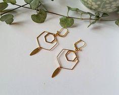 Boucles d'oreille géométriques hexagones
