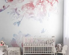 Spring Floral Removable Wallpaper Watercolor wall mural Peel by loveCOLORAY   Etsy