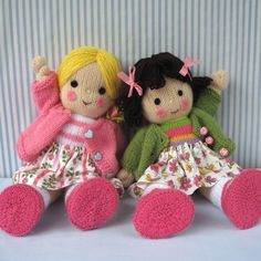 Polly and Kate doll knitting pattern INSTANT by dollytime