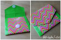 Duct Tape Pocket Wallet ~ Make a 4″ pocket wallet from patterned and solid print duct tape.  You can tuck some money or a gift card in it for a quick birthday gift.  It's also perfect for carrying lunch money.