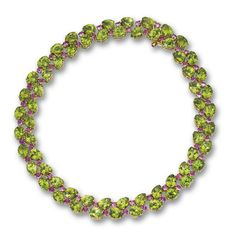 PERIDOT AND PINK SAPPHIRE NECKLACE. The stylized leaf and berry motif set with numerous pear-shaped peridots weighing approximately carats and round pink sapphires weighing approximately carats, mounted in 18 karat gold, length 16 inches. Peridot Jewelry, Sapphire Necklace, Diamond Pendant Necklace, Peridot Rings, Stone Necklace, Modern Jewelry, Jewelry Art, Fine Jewelry, Vintage Jewelry