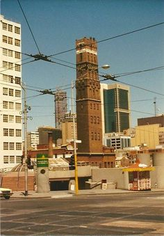 Swanston St Shot Tower before construction of Melbourne Central Precinct - Melbourne, Victoria Melbourne Central, Melbourne Australia, Melbourne Suburbs, Melbourne Victoria, Victoria Australia, World Images, Historical Pictures, Luxor, Best Cities
