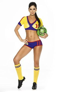 Espiral Lingerie Women's Colombia Soccer Player Costume, Blue/Yellow/Red, Medium #Blue/Yellow/Red #Colombia #Costume #Espiral #Lingerie #Medium #Player #SexyHalloweenCostume #Soccer #Womens Halloween Spirit