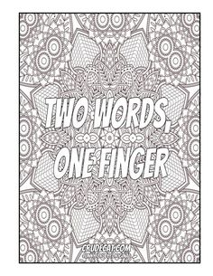 Adult Coloring Page | Swearing Coloring Book | Art Therapy | Mandala Coloring - Two Words, One Finger Coloring books, coloring sheets, coloring pages, coloring pages for men, coloring pages for grown ups, Colorauction, Colorful Zone, WE AND THE COLOR, Adult Coloring, Coloring Pages, Coloring Squared.