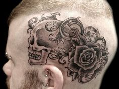 Rose and skull tattoo on the head - 45 Crazy Tattoos on Head  <3 <3