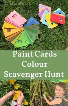 Paint Chip Colour Scavenger Hunt - The Imagination Tree Color Activities, Activities For Kids, Nursery Activities, Activity Ideas, Science Activities, Preschool Crafts, Crafts For Kids, Paint Chip Cards, Imagination Tree