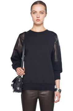 Alexander McQueen  Leather Shoulder Sweatshirt in Black