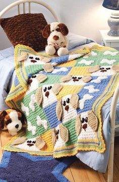 Might have to adapt this Puppy Afghan into a quilt...