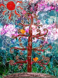 Mixed media tempered glass and polymer clay tree mosaic. Made by Cindy Dubbers at Crimson Heart Studios.