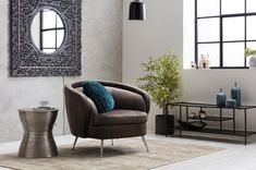 The Murray Velvet Tub Chair in Taupe has tapered metal chrome finished legs as well as zigzag, webbing suspension makes this stylish sofa superbly comfortable. Interior, Side Table, Stylish Sofa, Tub Chair, Open Plan Living Room, Home Decor, Moroccan Inspiration, Bedroom Corner, Mirror Wall