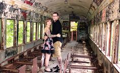 engagement session at abandoned train car by lindseysphotography.net